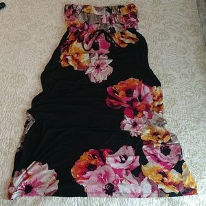 Strapless Black Tropical Maxi by Style & Co. sz. L